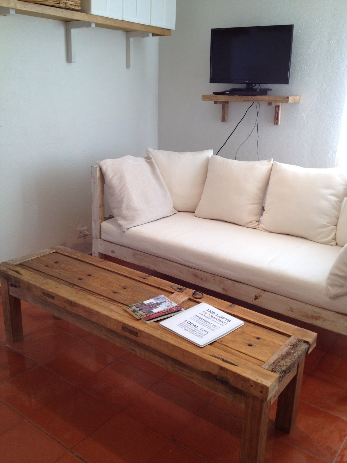 NEW CUSTOM WHITEWASHED SOFA AND COLONIAL DOOR COFFEE TABLE