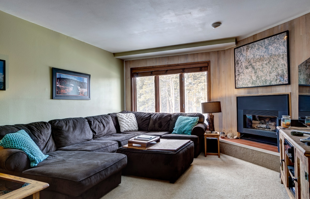 View of the slopes from your living room.  Huge couch, fireplace, and giant LED TV with sound system.