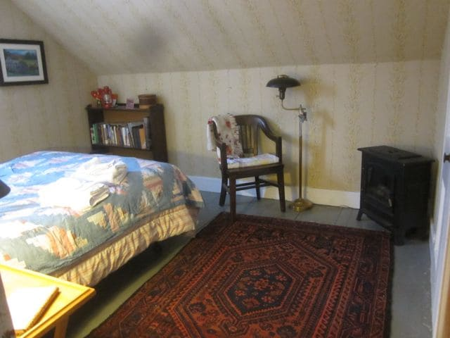 Small electric heater and Persian rug help keep this room cozy.