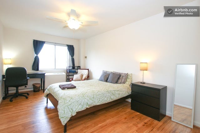 Large bright room with a comfy bed awaits you