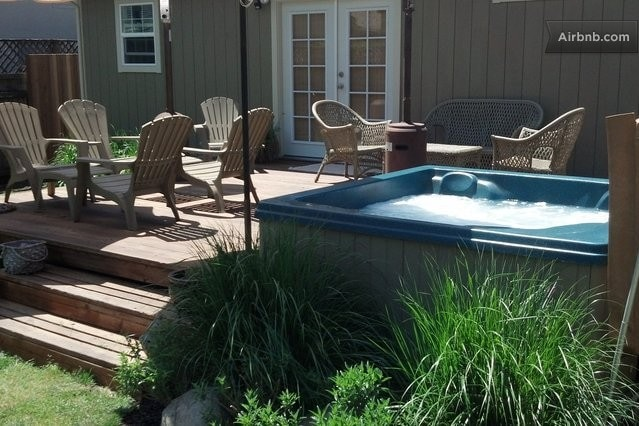 Enjoy the back deck all seasons of the year with the hot tub, grill, propane heaters or umbrellas. Enjoy fresh veges from the garden when in season.