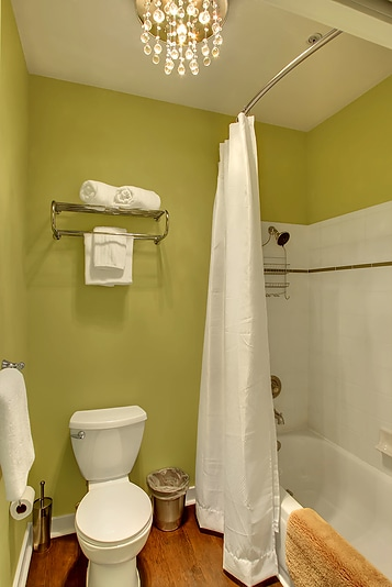 Divided bathroom makes sharing accommodations a breeze!