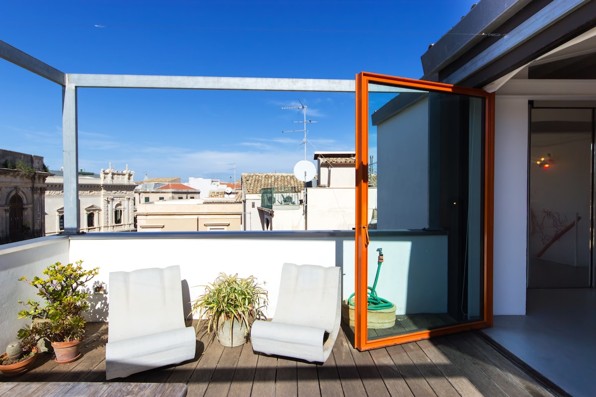 Very spacious private terrace with old city center view