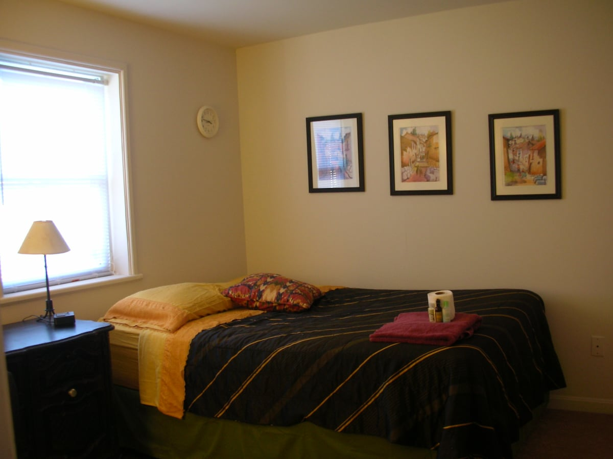 Nice and large bedroom, with comfortable queen sized bed, clean linens, lots of space and natural light