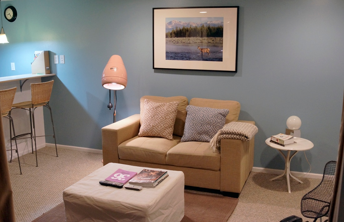 Open living area with satellite tv!