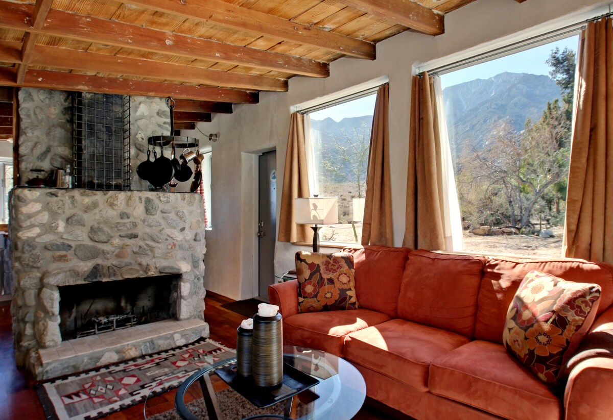 Enjoy mountain views from large windows.