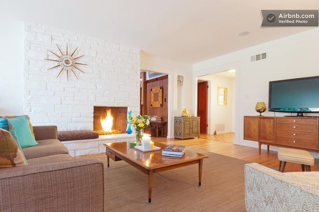 Mid Century Living Room with Style and Cozy Fireplace