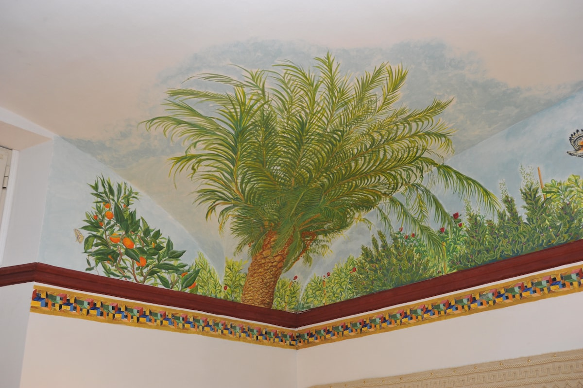 A fresco painting's detail with mediterranean botanic species