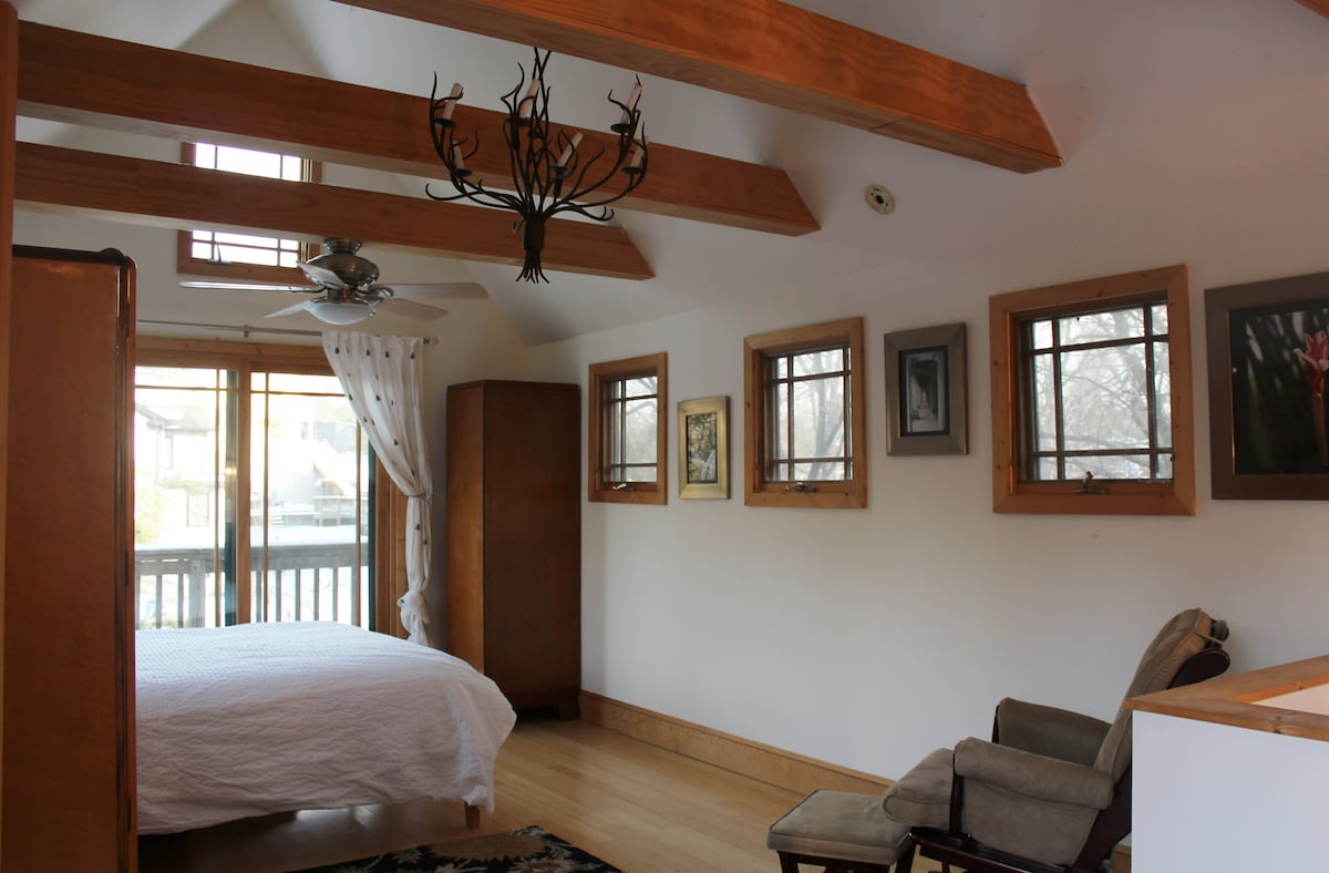 *All interior photos new as of March 2014* Bedroom/top floor of cottage: light filled, open vaulted ceiling with exposed beams.