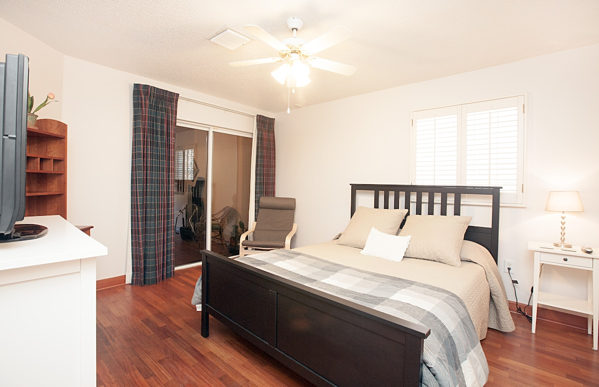 Your private bedroom with private access to outside patio