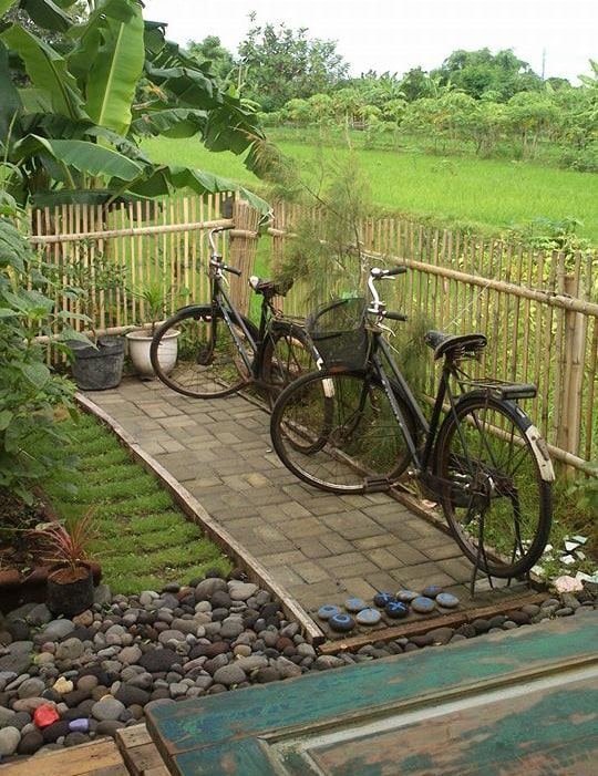 Welcome to our backyard! We have complimentary bicycles and rice paddies at our back door.