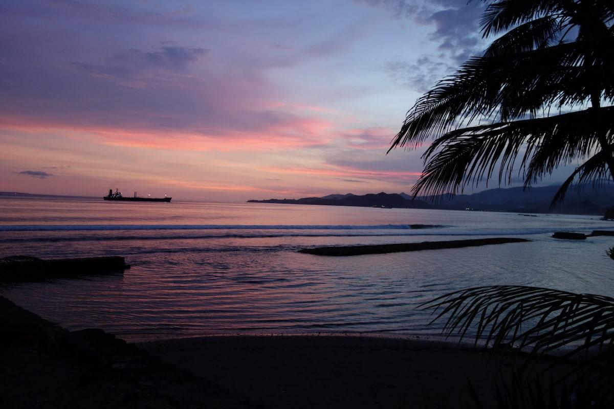 Evening view from villa terrace.