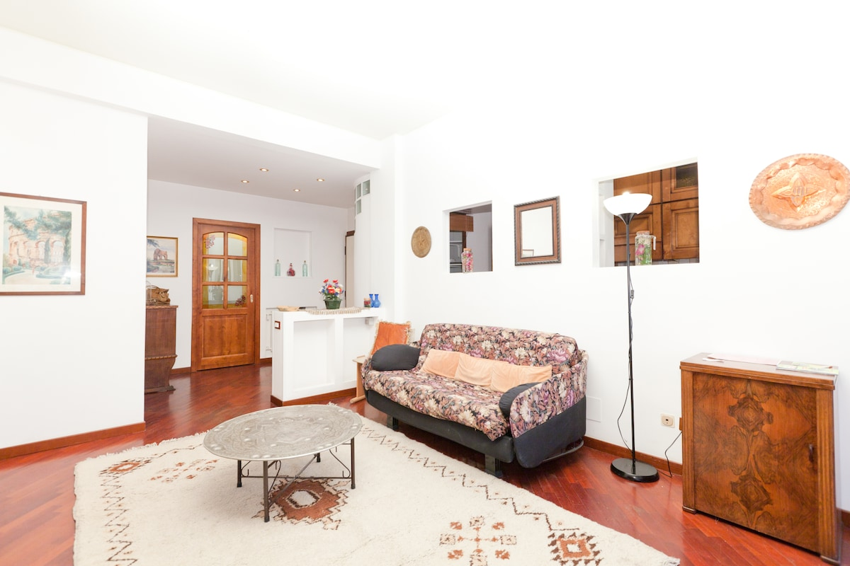 living room with a comfortable sofa double bed