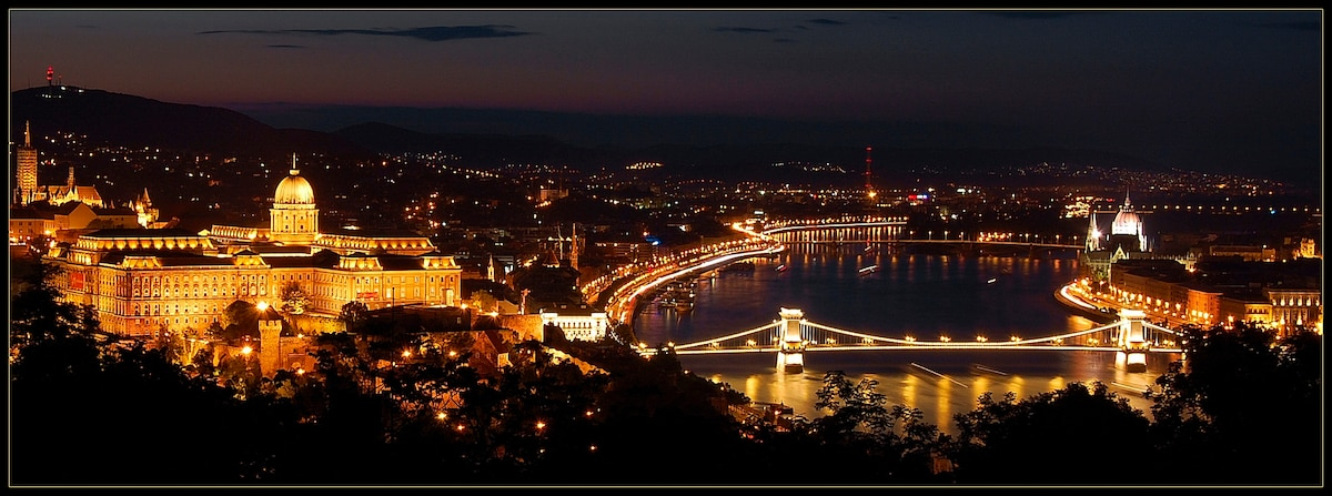 The view of Budapest at night