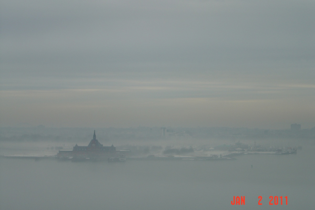 View from terrace - New York Harbor on a foggy day