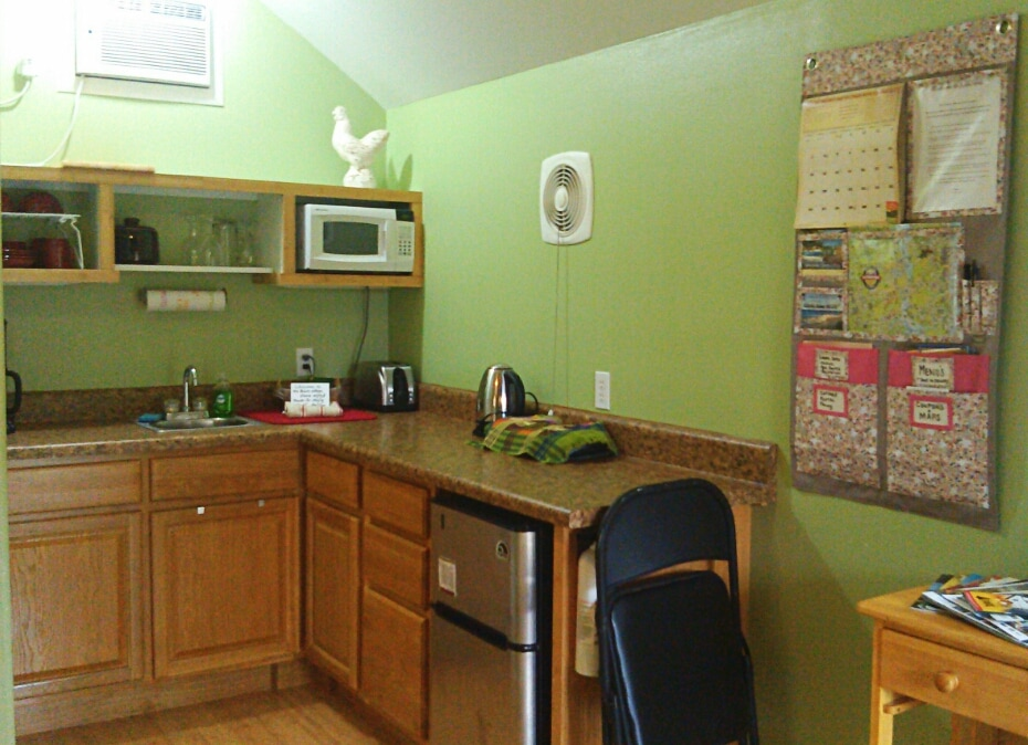 "Your furnished kitchen-- complete with maps, tourism, ""locals knowledge"", and safety information!"