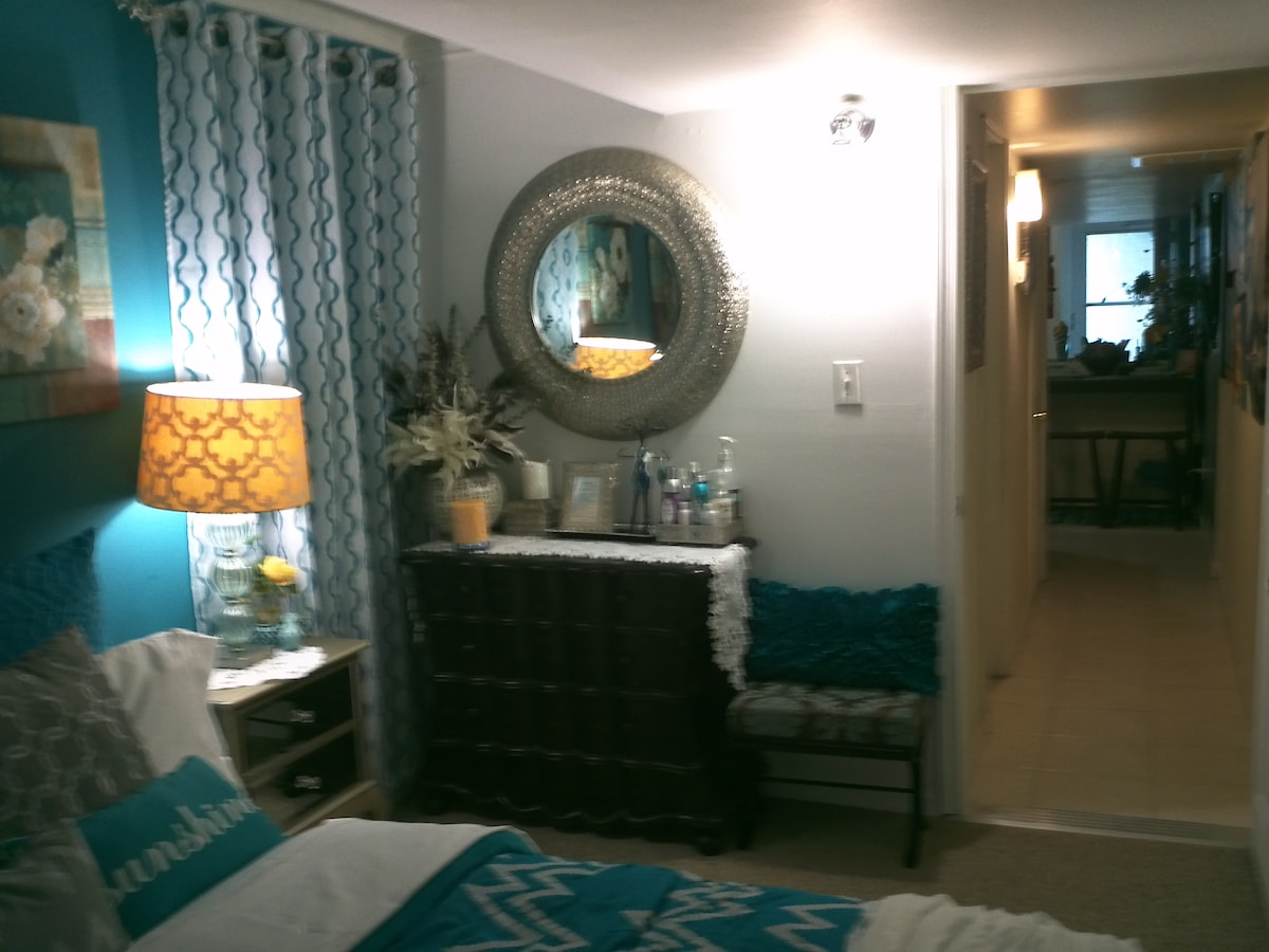 Another view of entire dresser with mirror