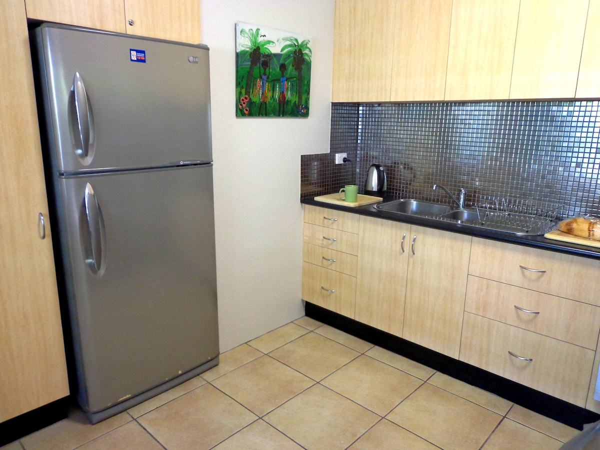 Full Kitchen Facilities, Large Refrigerator.