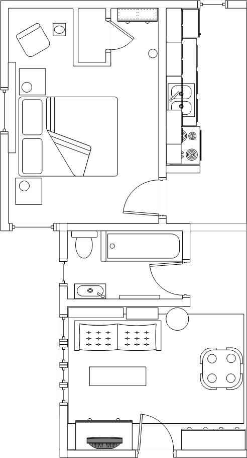 Floor plan. Note the separation between the bedroom & LR in case 4 people share.