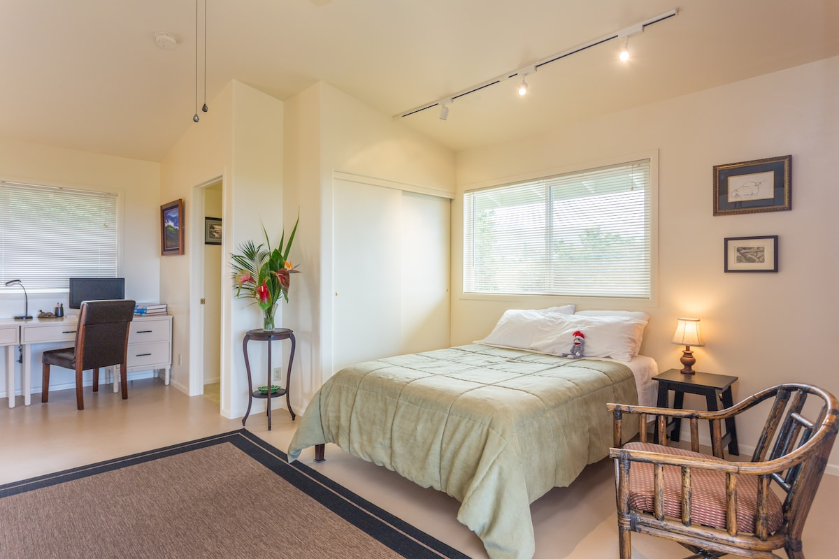 Comfortable full bed, ample closet with luggage table