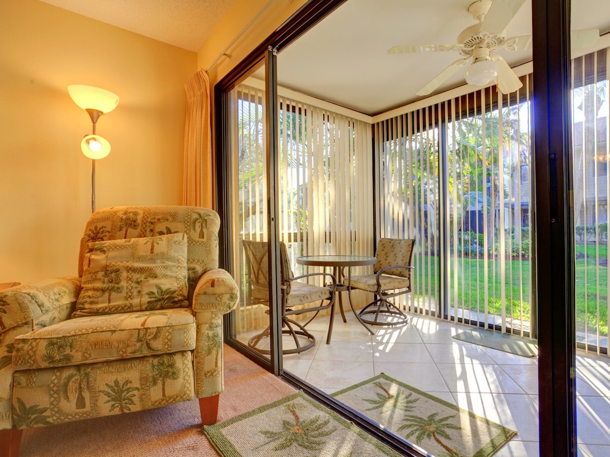 Our living room and lanai are elegant and relaxed. Our living room and lanai are elegant and relaxed...just the right combination for a Florida vacation at Siesta Dunes Beach 104!