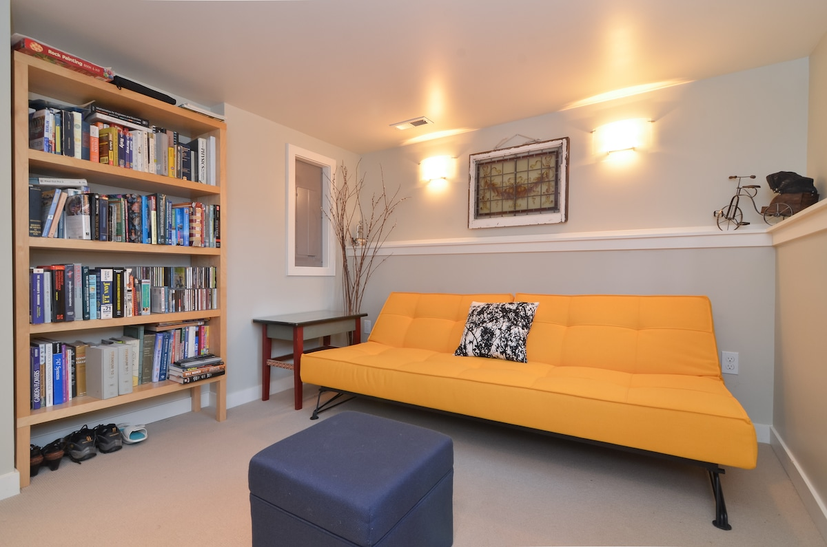 Living Room is a warm place to spend a quiet evening and can double as a bedroom for an extra guest.