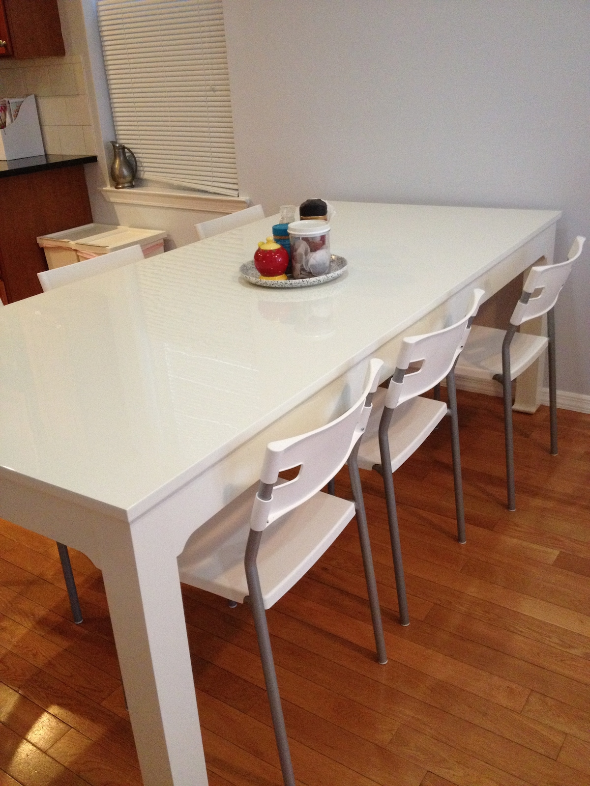 New Jonathan Adler dining room table, seats 8