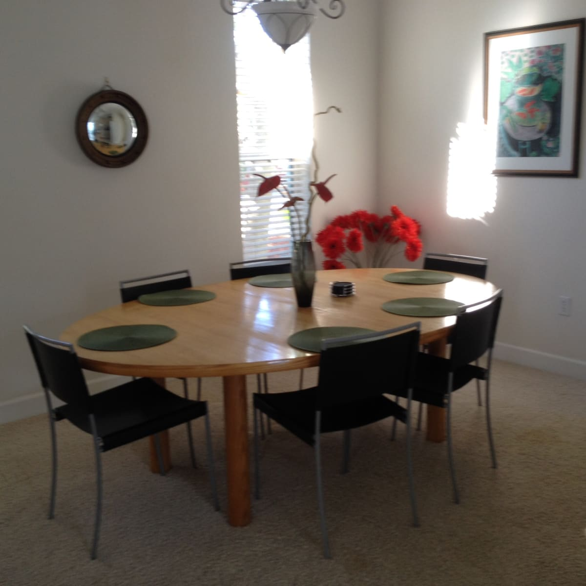 Large dining table seats six or more