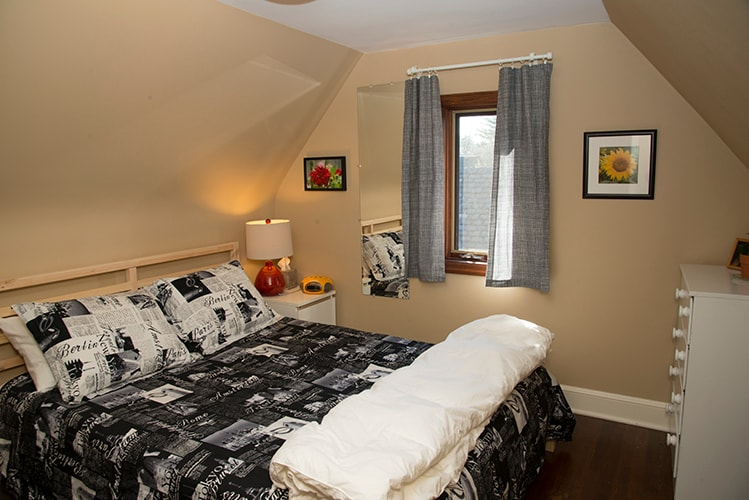 Your third floor suite has a comfortable cozy room with queen bed and private bath.