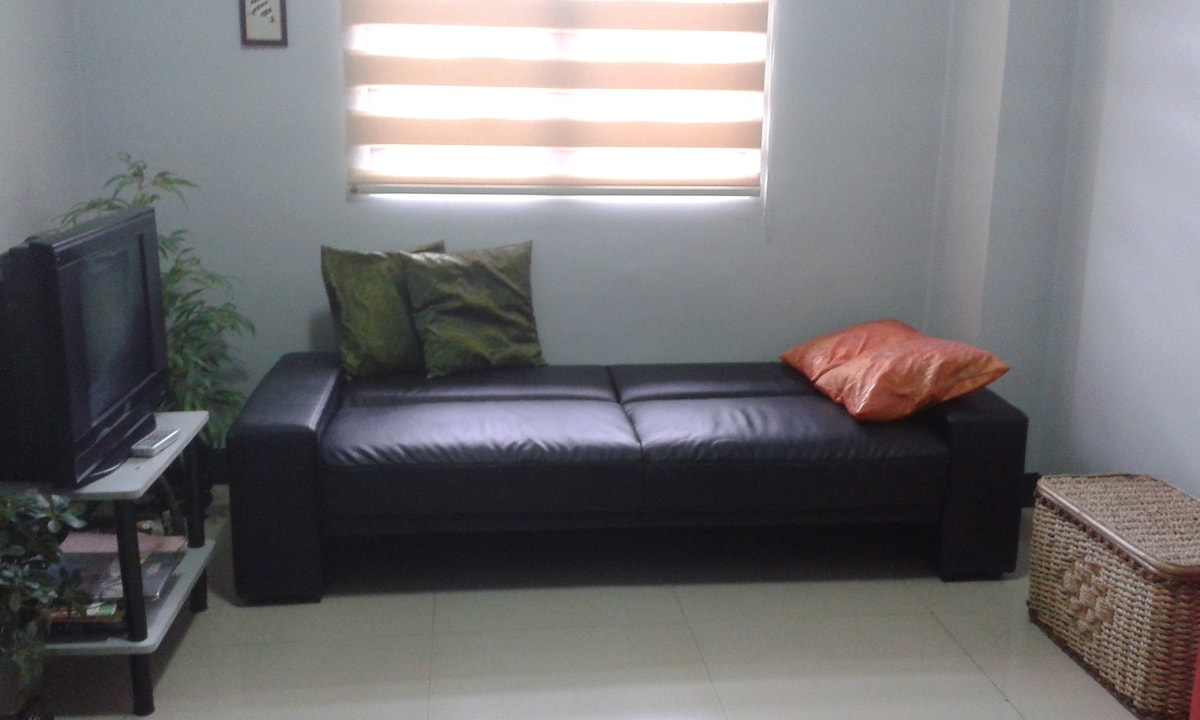 Sofa can be converted to a sofabed.