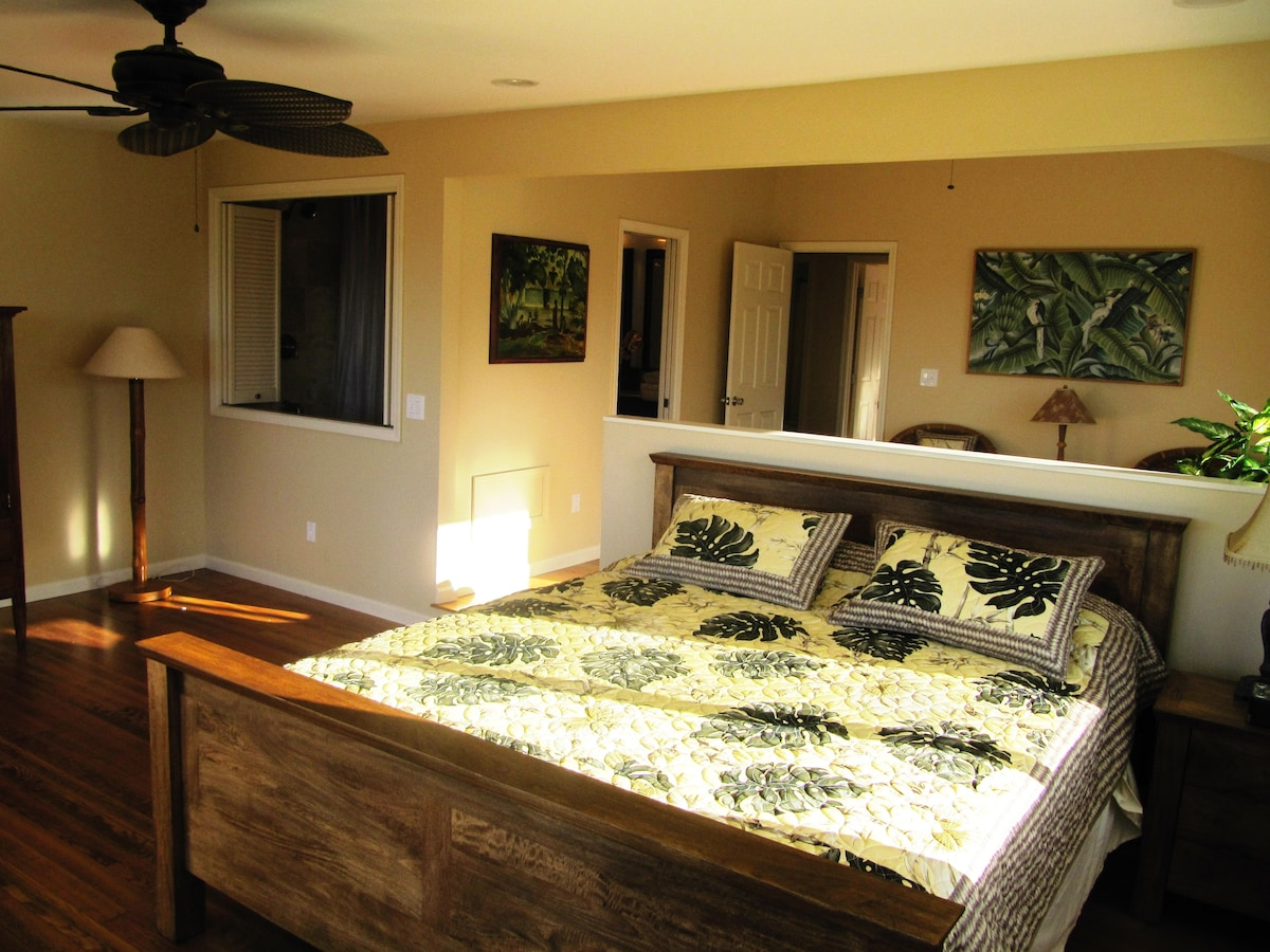 Master bedroom with Cal King Mango wood bed frame