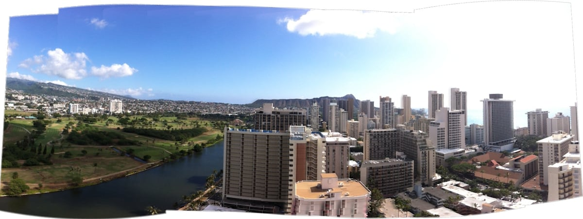 View of Diamond Head and canal