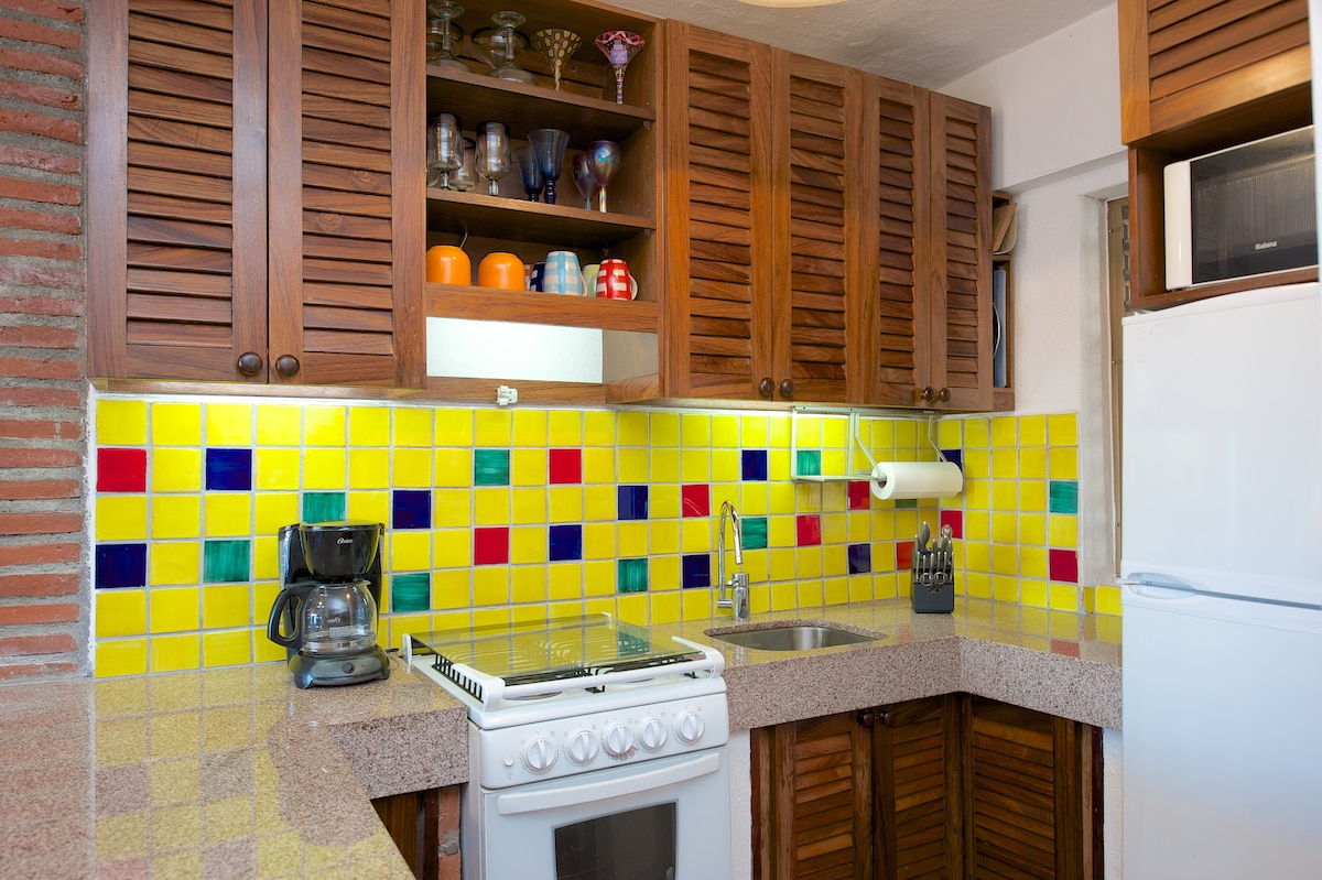 Built with a modern Mexican feel, this kitchen is fully functional.