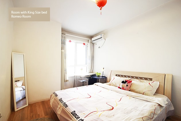 Romeo room with 2 meter king size bed & full height mirror