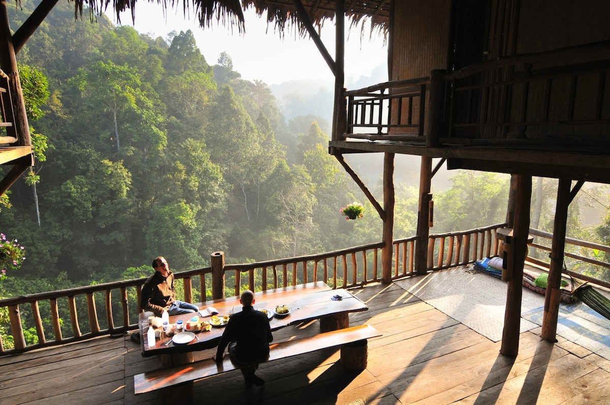 Guests taking in the morning view from the tree house terrace