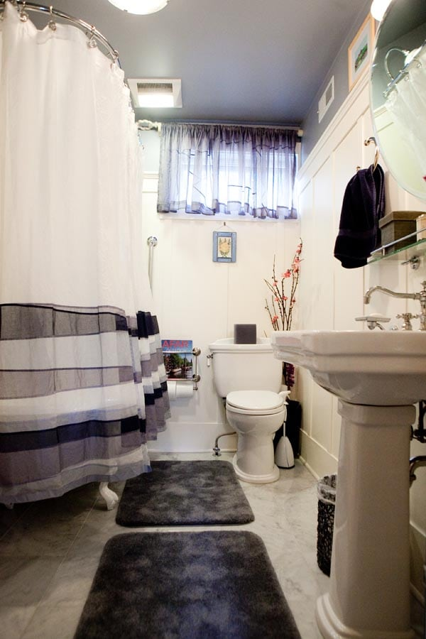spacious bath:  large European claw-foot tub w/shower