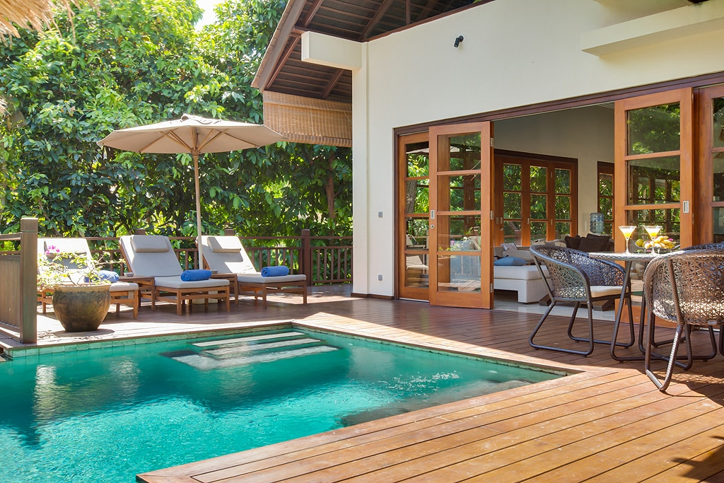 Villa Karma Indah exterior, direct access from living room to the swimming pool