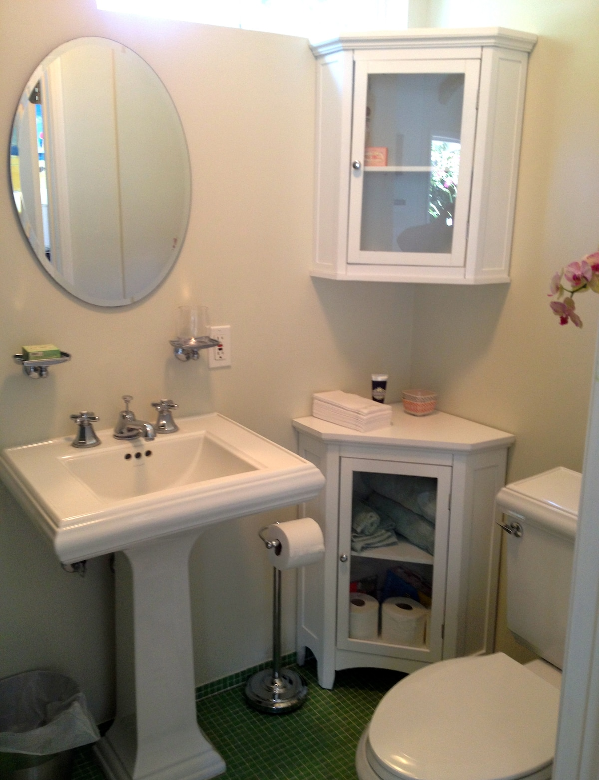 It's small but this 3/4 bath has all you need. Shower only.