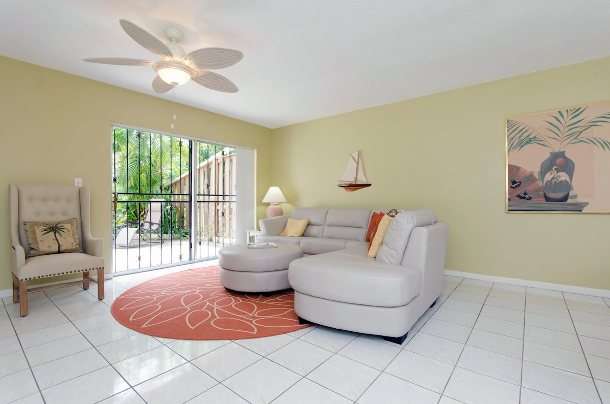 Living area is open to the private patio