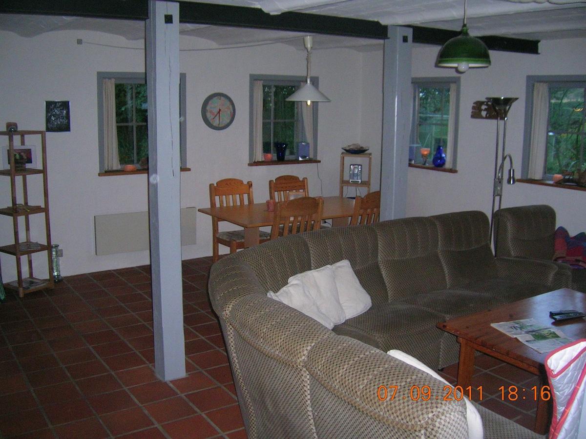 Gildesal med fælles spiseplads og TV stue