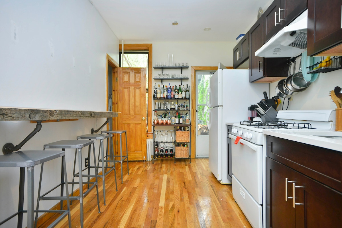 The kitchen and door to the backyard.
