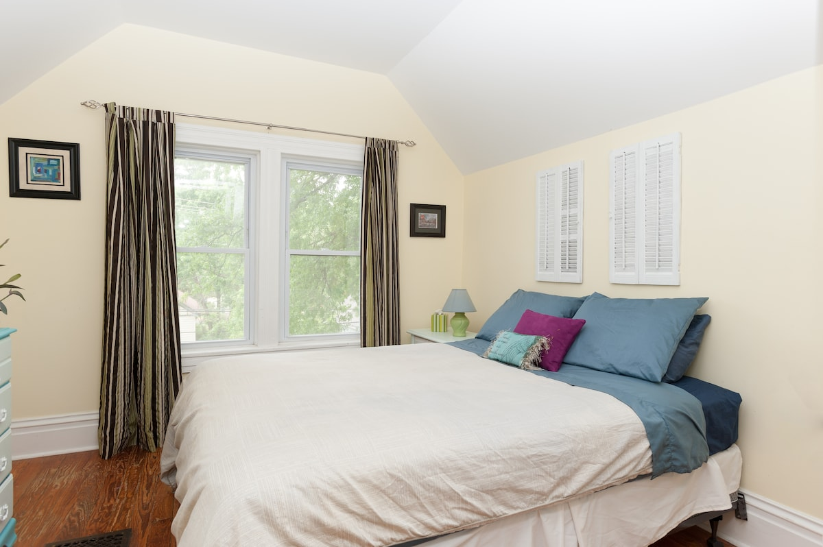 a room of one's own with clean and comfy full-sized mattress
