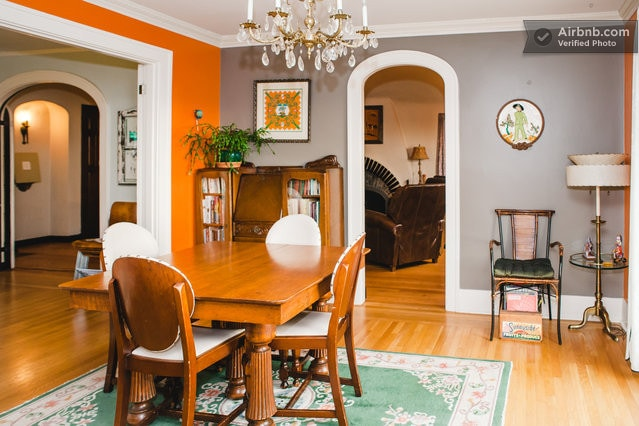 Original 1926 leaded glass doors separate the living room, den and kitchen and allow for privacy between rooms during gatherings or with larger groups traveling together.  The dining table seats 4 but can easily expand to 6 or 8.