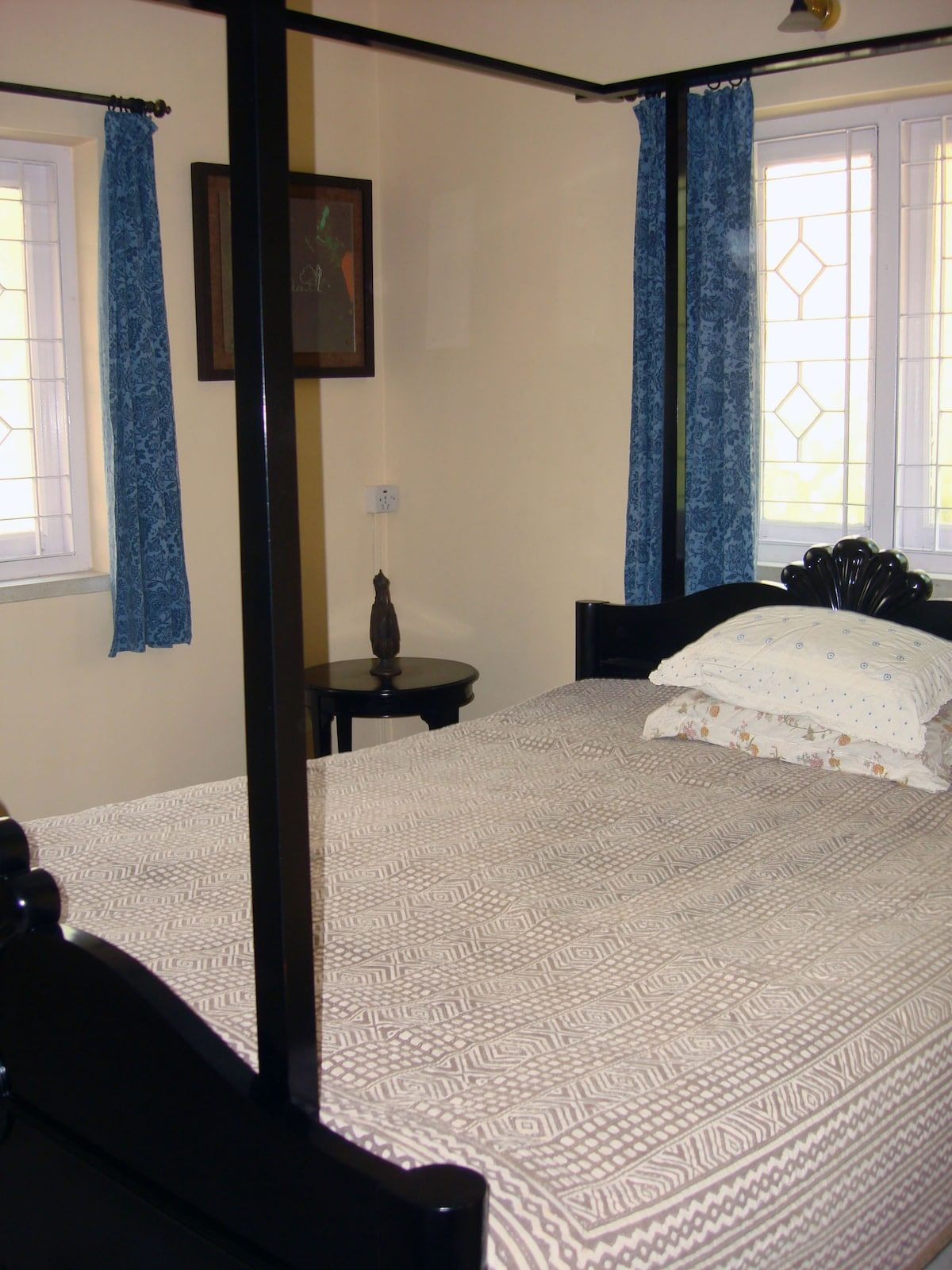 View of the two windows in the master bedroom