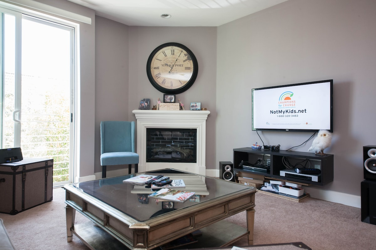 Living room with mounted flat panel.