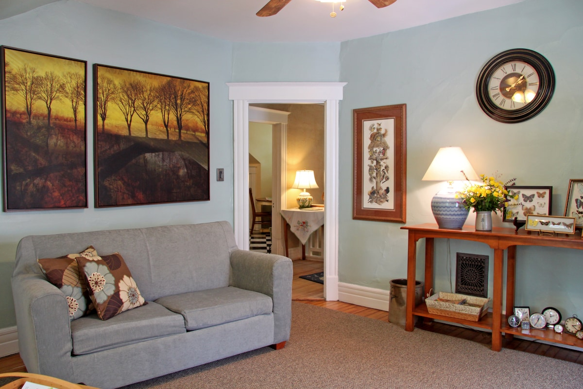 The sunlight filled living room is laid out with your comfort in mind.