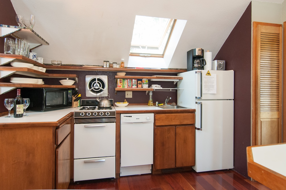 Kitchen with dishwasher and gas stove.