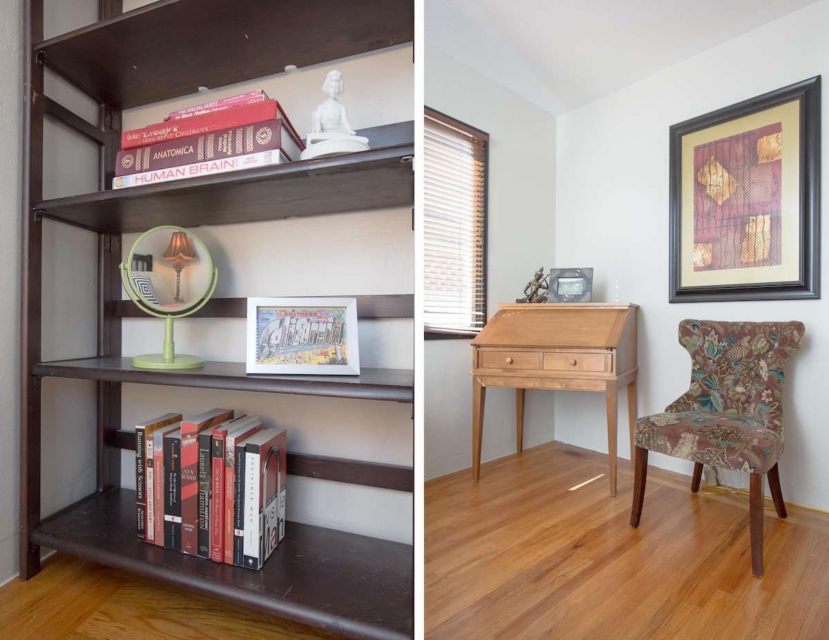 There's a writing desk & chair for you to work at, or peruse the travel books we complied for you. Don't know what to do with yourself? We'll happily recommend things to do and see, and sometimes we even get the chance to take our guests around town perso