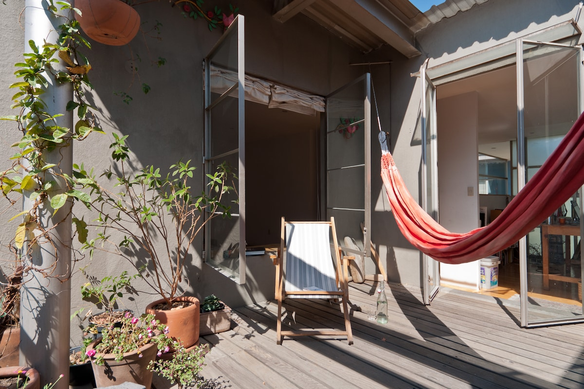 What is everybody's favorite spot? The hammock of our back terrace!