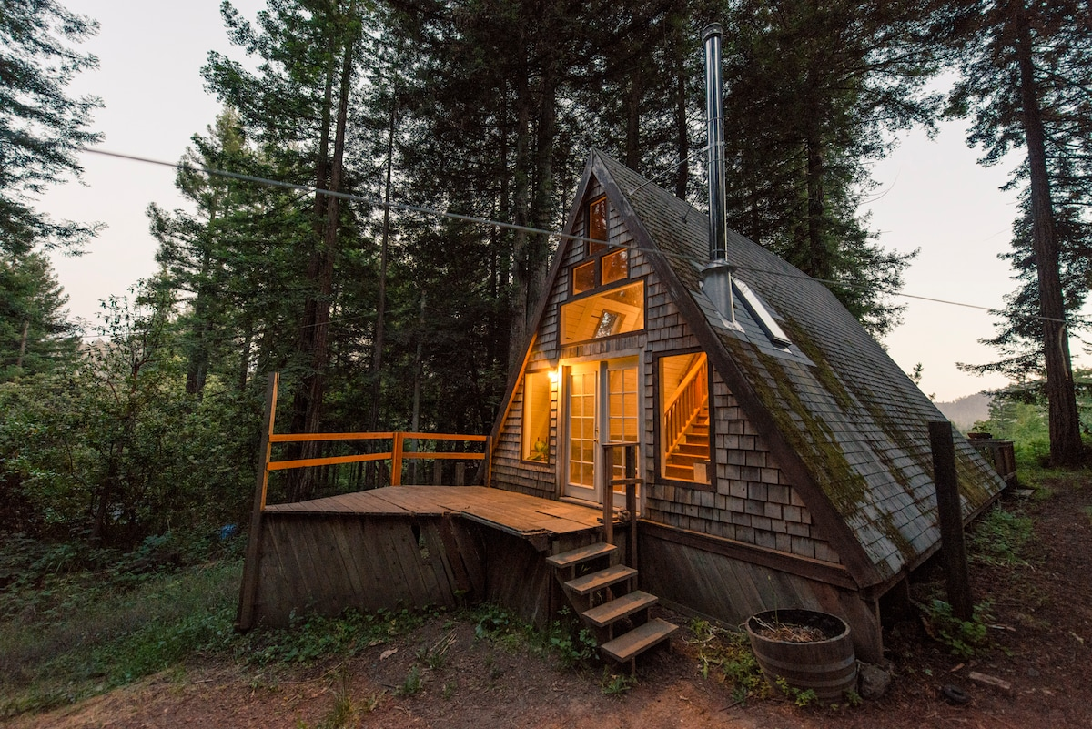 Cozy a frame cabin in the redwoods in cazadero for Airbnb cabins california